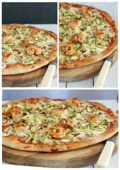 chilli and garlic prawn pizza with zucchini and mozzarella soaked in cream Seafood Pizza, Chilli Prawns, Garlic Prawns, Pizza Recipes, Cooking Recipes, Flatbread Pizza, Pizza Pizza, Calzone Recipe