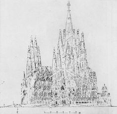 gaudi's drawing before the actual build.
