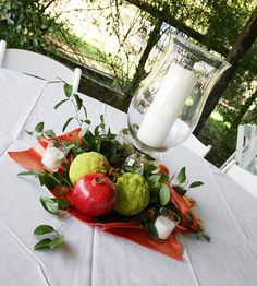 Wedding centerpieces NON-FLOWER centerpieces Jones . can still use red w/out being all roses Non Flower Centerpieces, Apple Centerpieces, Wedding Centerpieces, Centrepieces, Fall Wedding Colors, Floral Wedding, Wedding Flowers, Fall Flowers, Simple Weddings