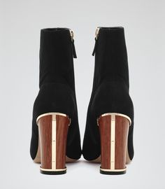 Womens Black Wooden Heel Ankle Boots - Reiss Marley