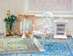1:12 scale miniature, Gustavian Style Armchair, Dollhouse, Chair, XVIII century, Swedish Furniture, Painted Furniture, Boudoir, Living Room