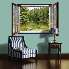 Fototapete fenster wald  Fototapete Vlies Fenster mit Bach 201 x 145 cm   Tapeten ...