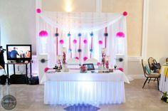 dekoracja sali weselnej, miejsce Młodej Pary