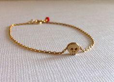 Tiny Skull Bracelet - 14KT Gold Matt Plated Skull on Gold Plated Chain - Dainty Minimalist Jewelry on Etsy, $13.00