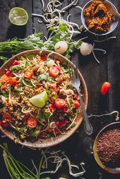 7 Asian-Inspired Salad Recipes That Are Packed With Flavor Asian Salad Recipes: Thai spiced red rice salad with pepper, lemon grass and lime dressing Spicy Recipes, Raw Food Recipes, Asian Recipes, Cooking Recipes, Healthy Recipes, Ethnic Recipes, Drink Recipes, Fusion Food, Rice Salad