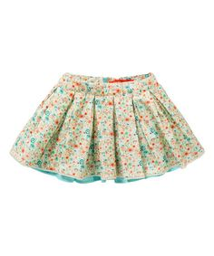 Look what I found on #zulily! Cream & Blue Floral Soetje Pleated Skirt - Toddler & Girls #zulilyfinds