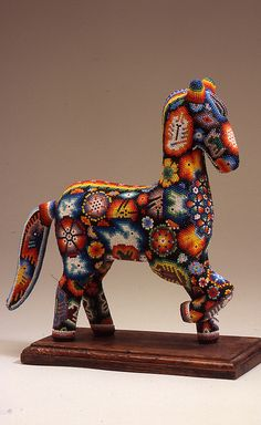 El Caballo: The Horse in Mexican Folk Art, bead horse, 2003, Wood, beeswax, and glass beads - Huichol Art
