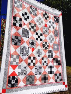 Handmade Patchwork Quilt Black White Red Hand Quilted & Appliqued Queen Size