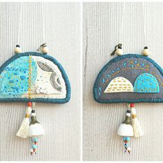 Fabric necklace /  two sided textile necklace / illustrated fabric pendant, fabric jewelry, embroidery pendant, tassel necklace, silk cocoon