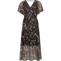 Grey floral lace frill cape midi wrap dress - RI limited edition - sale - women