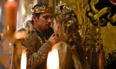 History was never like this at school: Jonathan Rhys-Meyers as Henry VIII and Tamzin Merchant as Catherine Howard in The Tudors. Photograph: BBC