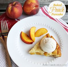 Baked Peach Pancake Recipe   Easy Dessert  w/ ALittleClaireification.com #recipes #peaches #foodie