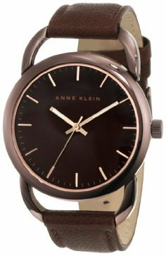 Anne Klein Women's 10/9927BNBN Brown Ion-Plated Brown Leather Strap Watch Anne Klein. $44.51. Luminous filled rosegold-tone hour and minute hands; stick second hand. Oversized polished brown ion-plated 38 mm round case. Brown leather strap with brown ion-plated stainless-steel buckle closure. Brown colored mother-of-pearl dial with gold-tone stick markers at all hours. Open brown ion-plated lugs