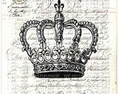 Vintage CROWN  Art Print on ANTIQUE LEDGER Book Page 1840s Vintage. Large Size 15 x 10.25 inches. The Decorated House