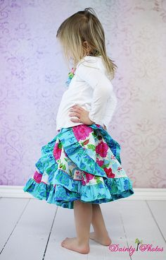 Love this, BUT***Requires 8 yards of fabric for a size 8 to cut out the curved pieces, plus ruffle fabric, plus waistband fabric.  Victoria's Ruffled Swirly Skirt PDF Pattern by CreateKidsCouture, $10.00    Redondo skirt Swirl skirt Flounce
