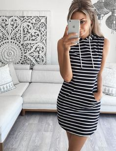 Women's Striped Black And White Casual Dress Hipster