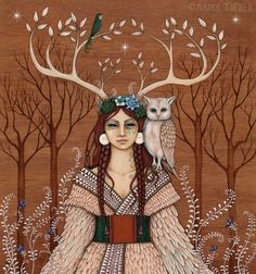 MoonMedicine - She Wears the Crown : Deer Medicine and the Antlered Women. Wood Witch by Nadia Turner Illustrations, Illustration Art, Pagan Art, Goddess Art, Artemis Goddess, Spirited Art, Sacred Feminine, Witch Art, Witch Painting