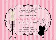DIY Printable Lingerie Party Invitation by Wedinfinity