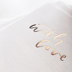 'with love' gold calligraphy letterpress wedding stationery by Paige Tuzee