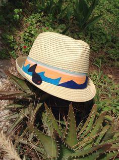 Summer kids hat collection Light brown on wave, fish & sailboat  gamzegedesignstudio.com