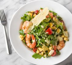 Grilled shrimp salad with sweet corn, polenta, creamy roasted garlic dressing and Parmesan crisps from Nordstrom. | Photo by Jeff Powell