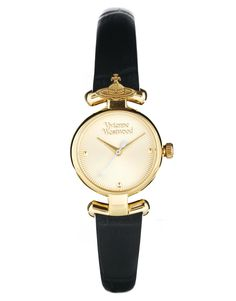 Vivienne Westwood Orb Black Leather Strap Watch