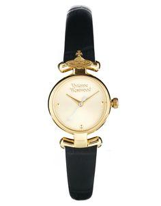 Vivienne Westwood Orb Black Leather Strap Watch