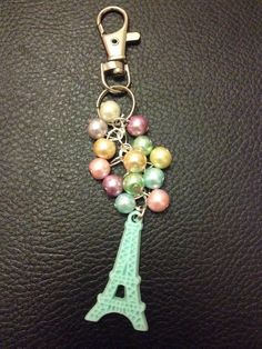 Pastel Eiffel towel bag charm #bagcharm #keyring #eiffeltower #pastel