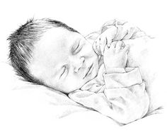 Baby pencil portrait drawing by Margaret Scanlan