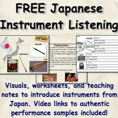 Introduce students to the instruments of Japan with this FREE teaching resource! Includes visuals, background information, and video recordings for the koto, hichiriki, taiko, and shakuhachi, with an accompanying worksheet for students to fill out as they listen to each.