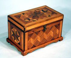 Antique American Folk Art Marquetry Jewelry Box