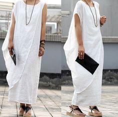Maxi Linen Dress in white by JM521 on Etsy