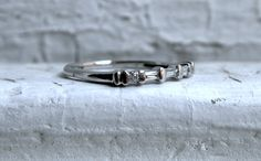 Vintage Platinum Baguette and Round Diamond Wedding Band - 0.25ct.