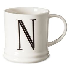 Monogrammed Porcelain Mug 15oz White with Black Letter N - Threshold, Black White