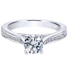 """Ben Garelick Royal Celebration """"Edith"""" 14K White Gold Tapered Channel Set Diamond Engagement Ring Featuring 0.29 Carats Round Cut Diamonds. Style ER12318R3W44JJ"""