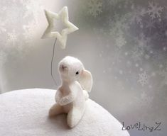 Wishing on a star.....felt mini bunny with New Year star -  Made To Order