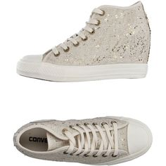 Converse All Star High-tops & Trainers ($100) ❤ liked on Polyvore featuring shoes, sneakers, ivory, ivory wedge shoes, hidden wedge heel sneakers, high top wedge sneakers, sequin sneakers and converse trainers