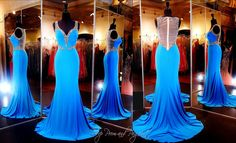 You will definitely be the talk of the party in this gorgeous brilliant turquoise evening gown. The sexy neckline and sexy sheer illusion back cascade into a formfitting skirt to show off your curves. The train completes this awesome ensemble! ONLY at Rsvp Prom and Pageant, Atlanta, Georgia or BUY it NOW at http://rsvppromandpageant.net/collections/long-gowns/products/turquoise-jersey-evening-gown-sweetheart-neckline-with-beaded-straps-illusion-sheer-low-back-train-115xct03052200415