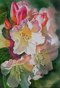 Rhododendron Shadows Print by Sharon Freeman  Rhododendron Shadows Painting  - Rhododendron Shadows Fine Art Print