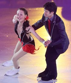 """Figure Skaters Mao Asada (left) and  Takahiko Kozuka (right) performed as """"Fujiko and Lupin the III"""" in a """"Lupin the IIIー themed Exhibition number"""" in Mao's annual summer show """"The Ice""""  = Nagakutecho Aichi Expo Memorial Park Ice Skating Rink, Aichiーprefecture, July 23, 2011. ・ Photo by Sasaki Junichi"""