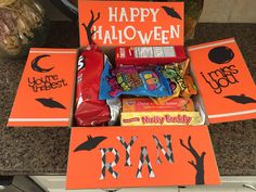Halloween College Care Package Halloween College, Happy Halloween, Diy Birthday, Birthday Gifts, Deployment Countdown, Birthday Presents For Friends, Nutty Buddy, Work Gifts, Diy Garden Decor