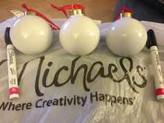 Making Nightmare Before Christmas ornaments. Ceramic ball ornaments and oil-based Sharpie paint pens. | Yelp