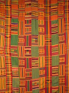 GHANA: Asante Kente Cloth, Ghana - known as nwentoma in Asante, is a type of silk and cotton fabric made of interwoven cloth strips and is native to the Ashanti and Ewe people of Ghana.