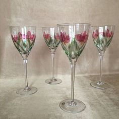 Vintage Wine Glasses Hand Painted Hungarian Crystal by DotnBettys