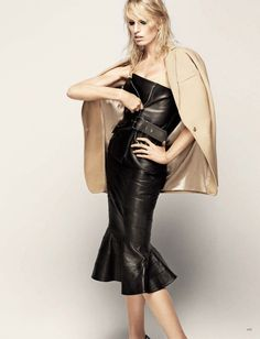 Karolina Kurkova for HB Russia - Jean Paul Gaultier leather top, Givenchy leather skirt