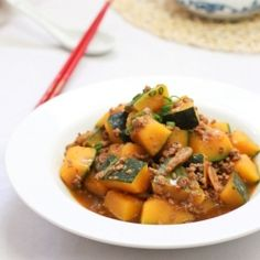 Easy braised pumpkin dish recipe. Who would think that pumpkin can taste so good in a savory sauce?