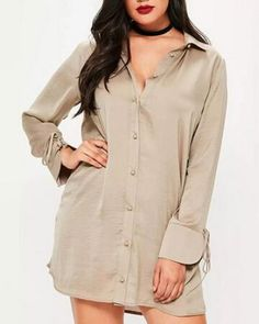 d01d4519008 Beige tie sleeve shirt dress plus size long style for fat women Satin Shirt