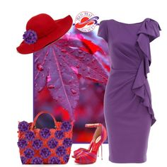 A fashion look from July 2014 featuring ruffle dress, leather totes and floppy hats. Browse and shop related looks. Red Purple, Purple Dress, Red Hat Club, Fashion 2017, Fashion Outfits, Red Hat Ladies, Red Hat Society, Lady In Waiting, Pink Hat