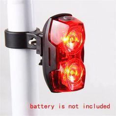 Ciclismo Noche Brillante Estupenda Roja de 2 LED Trasera Luz trasera De Plástico Lámpara de Seguridad de Bicicletas Accesorios de Bicicletas