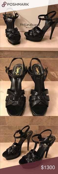 **YSL** Tribute black python shoe! EXCELLENT condition. Worn ONCE! INCLs-Cover bad and heal tips. Sell or trade for authentic EC LV bag Yves Saint Laurent Shoes Heels